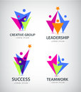 Vector abstract stylized family of 3, team lead icon, logo, sign . Royalty Free Stock Photo