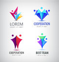 Vector abstract stylized family, team lead icon, logo, sign isolated. Royalty Free Stock Photo