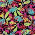 Vector abstract tropical leaves seamless pattern background.