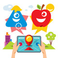 Vector Abstract virtual mobile game. Flat style colorful Cartoon illustration.