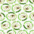 Vector abstract watercolor swirls seamless pattern. Green circles tile background