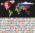 Vector abstract world political map mixed with national flags on black background. Collection of all world flags