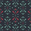 Vector Abtract Floral Design in dark green and red seamless pattern background