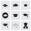 Vector academic icon set on grey background Stock Image