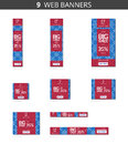 Vector advertising web banners with big sale and with pattern snowflakes on blue field