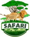 Vector african savannah safari emblem with lions