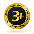 Vector age limit gold medal Royalty Free Stock Photo