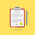 Vector Agreement Contract and Pen with Signature