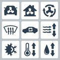 Vector air conditioning icons set Royalty Free Stock Image