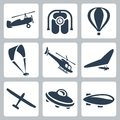Vector aircrafts icons set autogyro jet pack air baloon paraglider helicopter hang glider glider flying saucer airship Stock Image