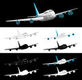 Vector Airplane 45 Degrees Front View Silhouette Royalty Free Stock Photo
