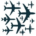 Vector airplane illustration silhouette aircraft transportation travel way design journey speed aviation. Royalty Free Stock Photo