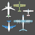 Vector airplane illustration top view and aircraft transportation travel way design journey object. Royalty Free Stock Photo