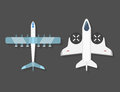 Vector airplane illustration top view and aircraft transportation travel way design journey object.