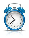 Vector alarm clock blue on white background Royalty Free Stock Image