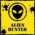 Vector alien hunter logo on red yellow file format eps Stock Photo