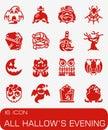Vector All Hallows Evening icon set