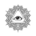 Vector All seeing eye pyramid symbol. Tattoo design. Vintage han Royalty Free Stock Photo