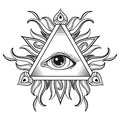 Vector All seeing eye pyramid symbol in tattoo engraving design. Royalty Free Stock Photo