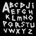 Vector alphabet. Font written by with a wide brush in the ancient style tracing. Royalty Free Stock Photo
