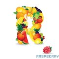 Vector alphabet from fruit for letter r fruit is raspberry Stock Images