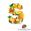 Vector alphabet from fruit for letter s fruit is strawberry Royalty Free Stock Photography