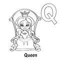 Vector alphabet letter Q, coloring page. Queen Royalty Free Stock Photo