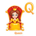 Vector alphabet letter Q. Queen. Royalty Free Stock Photo