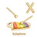 Vector alphabet letter X. Xylophone Royalty Free Stock Photo