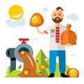 Vector Amber extraction in Ukraine. Flat style colorful Cartoon illustration.