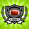 Vector american football emblem on green bursting background Stock Photos