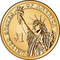 Vector American gold coin one dollar Royalty Free Stock Image