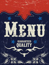 Vector american grill steak restaurant menu design western style grunge effects can be easily removed Stock Photo