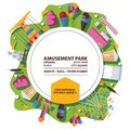 Vector amusement park poster. Bright composition with flat objects and circle Royalty Free Stock Photo