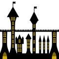 Vector ancient gothic castle black silhouette