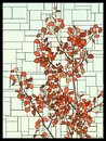 Vector stained glass window with red leaves of a tree.