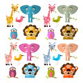 Vector animals illustration set giraffe owl bird lion and elephant Royalty Free Stock Images