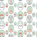 Vector animals portraits pattern bear deer rabbit fox seamless in pastel colors Stock Photos