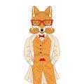 Vector anthropomorphic fox in elegant classic suit with coat. Ha