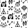 Indian  seamless pattern for boys and girls, native American background with teepee and arrows Royalty Free Stock Photo
