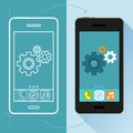 Vector app development concept in flat style mobile phone and sketch on screen infographic design elements and icons Stock Image