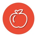 Vector Apple Within A Circle Line Icon