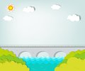 Vector applique. Landscape with bridge Stock Photo