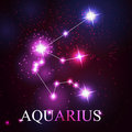 Vector of the aquarius zodiac sign beautiful bright stars on background cosmic sky Stock Photos