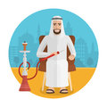 Vector arabian man smoking hookah. Royalty Free Stock Photo