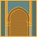 Vector arabic background with traditional window frame and arabic ornaments