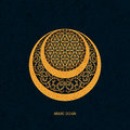 Vector arabic islamic traditional moon design element with golden floral and geometric ornaments