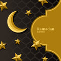 Vector arabic pattern, 3d stylized golden moon, stars and gold frame. Arabesque ornaments for ramadan holiday decoration.