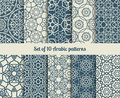 Vector arabic patterns set of wallpaper backgrounds with abstract texture Stock Images
