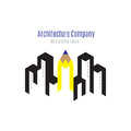 Vector : Architecture company logo with building and yellow penc Royalty Free Stock Photo